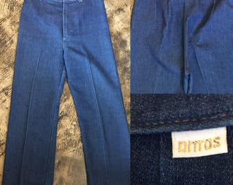 70's DITTO jeans flares denim high waisted indigo womens vintage size 31 pleated fitted super rad trouser pant festival rad disco dark sale
