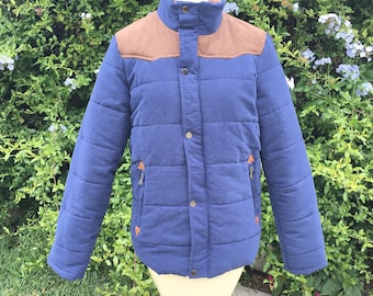 Vtg Women's puffy Jacket brown blue vintage size large snap button mock neck patched insanely soft fully lined quilted copper festival sale