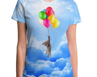 Kitty Up (WTE0020-288SUB) Women's T-shirt. Cat tees, cute cats, pets, animal lover, balloons, sky, clouds, kitty, cat lover, cute tees