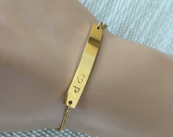 Hand Stamped bracelet, Initial Plate Gold Bar ,bar bracelet, initial bracelet,gift idea, bridesmaid gift,