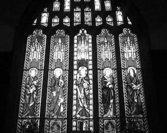 Black and white church window, a photograph