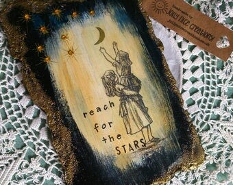 "REACH for the STARS - A small hand-painted mixed media panel with vintage illustration - 4""x6"" (9.5x15cm) - Free Uk Delivery"