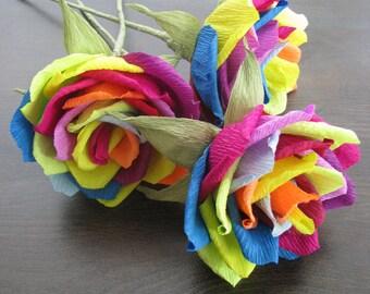 Rainbow roses wedding arrangement/ Paper flower/ Bridal bouquet/ Wedding decor/ Bridal shower/ Floral centerpiece/ Birthday party decoration