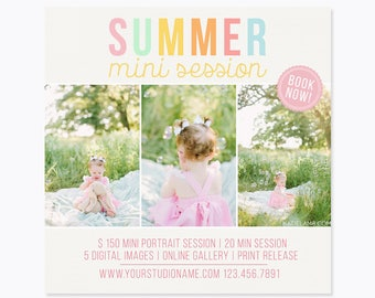 Mini Session Template - Photography Marketing Templates - Instagram Marketing Board - Photoshop Templates -5X5 inch - INSTANT DOWNLOAD