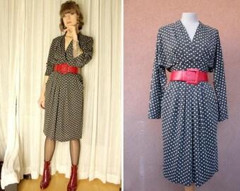 1980's Polka Dot Dress - 80's Thick Cotton Dress - Deep V-Neck Dress - Size S #1161