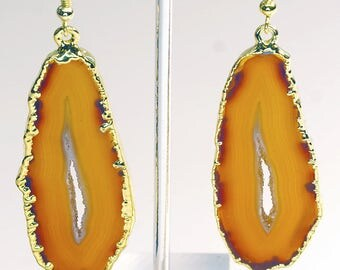Gold Plated Natural Agate Slice Earrings (AE31BT)