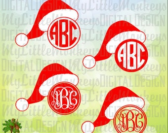 Santa Hat Monogram Base Christmas Design Digital Clipart and Cut File SVG, EPS, DXF, Jpeg and Png Instant Download