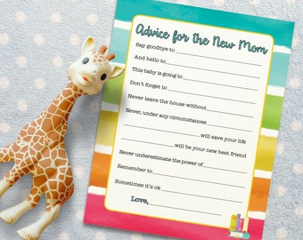 Advice for New Mom - Baby Shower Activity for Rainbow Book Baby Shower. Baby Shower Game/ Baby Shower Activity. DIGITAL DOWNLOAD*