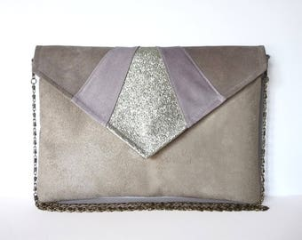 Pouch envelope graphic taupe, mauve pink and gold glitters