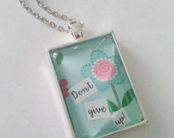 Don't Give Up!  2017 Convention Necklace, Whimsical Flower Pattern, Shiny Silver