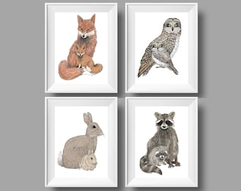 Woodland Nursery Art - Fox Nursery Art - Owl Nursery Decor - Rabbit Nursery Print - Raccoon Art For Kids - Animal Art For Kids - Animal Art