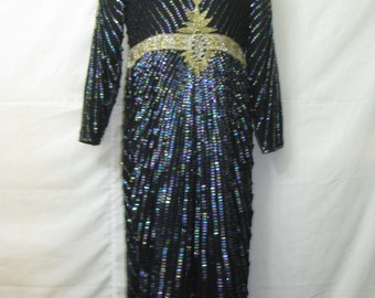 Black/gold/sil long gown#10023