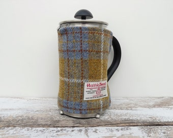 Tartan Harris Tweed Cafetiere Cover, French Press Blanket, Scottish Tartan Gift, New Home Gift, Handmade Coffee Pot Cover, Mothers Day Gift