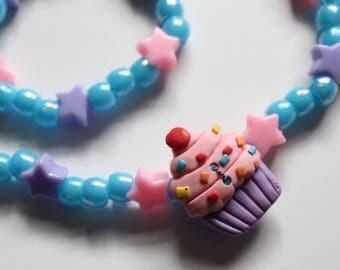 Shiny Cupcake Button Necklace Set