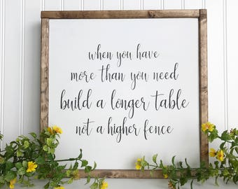 Build A Longer Table, FREE SHIPPING, Farmhouse Sign