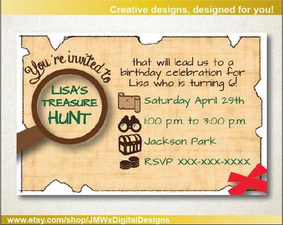 Treasure hunt invitation treasure scavenger hunt birthday – Treasure Hunt Party Invitations