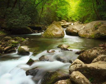 Big Creek Water Stream, Smoky Mountains National Park, Mountain Stream, Boulder, Tennessee Art, Wall Decor, Landscape Photograph