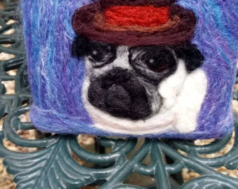 Needle felted dog - Pug in top hat