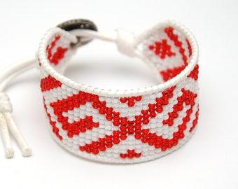 Girlfriend Gift for women gift Bead Loom bracelet White Bead bracelet Handmade bracelet Tribal bracelet Beaded Cuff bracelet Ethnic bracelet
