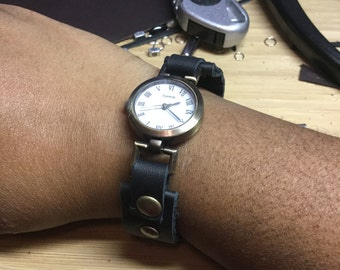 Steampunk leather watch, leather watch, snap watch, black watch