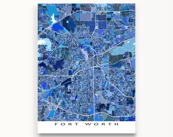 Fort Worth Map Print, Fort Worth Texas Map Art, TX, Home Decor