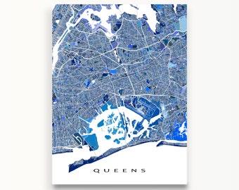 Queens Map Print, Queens New York City Art, NYC Wall Decor