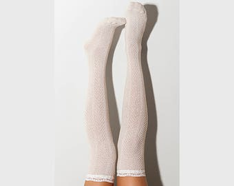 Ivory Lace Knee High Socks