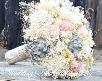 Blush Mauve Gray Sola Flower Bouquet, Sola Flowers, Sola Wedding Bouquet, Loose Sola Bouquet, Burlap and Lace, Keepsake Bouquet, Wedding