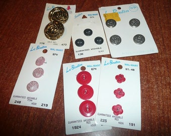 6 Carded LeBouton Assorted Colors Sizes Buttons
