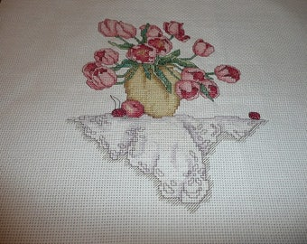 Tulips II Cross Stitch Completed Piece