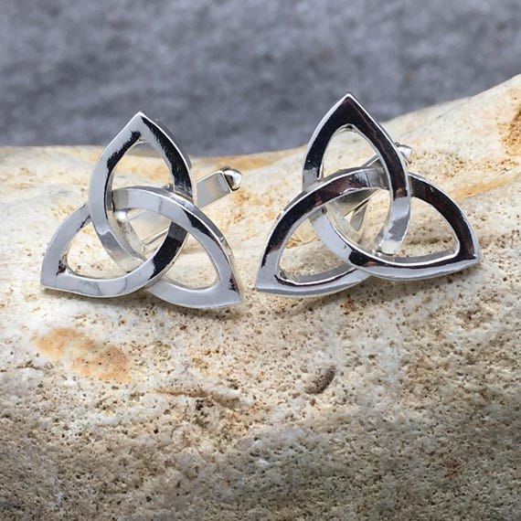 Handcrafted Sterling Silver Celtic Triangle Cufflinks Hallmarked.