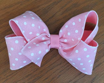 Pink Polka Dot Hair Bow, 6-6.5 inch bow with alligator clip