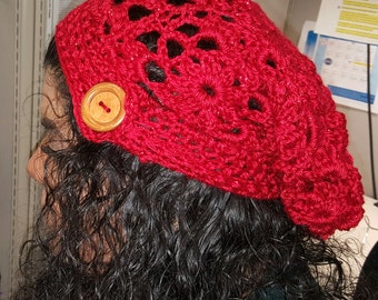 Red lace slouch hat
