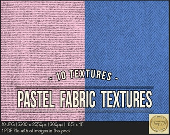 Pastel Fabric Textures | 8.5x11 Printable Digital Papers | Set of 10 Textured Scrapbook Papers | Digital scrapbook | Photo Paper overlays