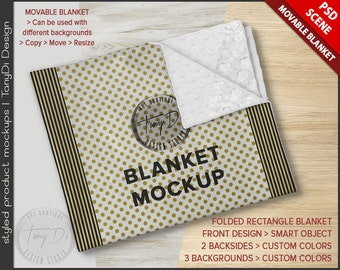 Blanket PSD Styled Mockup | Minky Folded Rectangle Blanket on Wood Table RB1