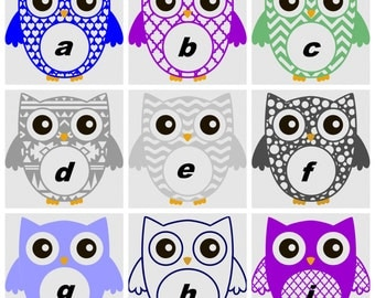 OWL MONOGRAM decals for Yeti cups, tumblers, mugs, water bottles etc almost FREE shipping