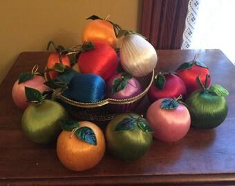 Vintage Satin Sheen Fruit Ornaments/Vintage Japanese Ornaments/Vintage Thread Fruit