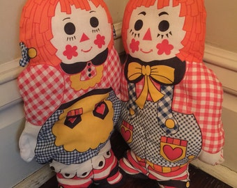 Vintage Raggedy Ann and Andy Pillow Dolls/Vintage Raggedy Ann Doll/People Pillows