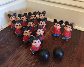 Vintage Mickey Mouse Bowling Set/Mickey Mouse Collector/Vintage Walt Disney