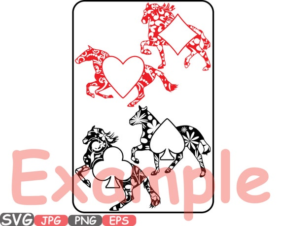 Poker Playing Svg Silhouette Cards Clipart Suits Casino Horse
