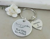 Pea Pod Keyring Two Peas In A Pod Peapod Key Chain Twin Mummy Gift Twin Mum Key Ring Twin Daddy Keyring Gift For Him Dad Gift