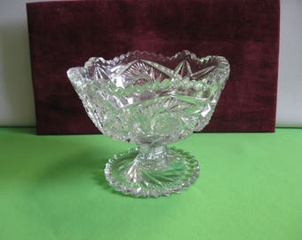 Elegant Pressed Crystal Clear Footed Compote or Candy Dish