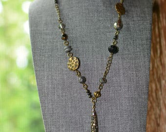 One of a Kind Beaded Necklace (24 in.) lots of Czech beads with a beautiful glitz charm as the center piece.
