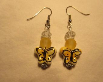 Yellow Ceramic Butterfly Beaded Earrings
