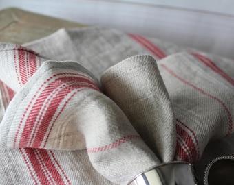 Linen Napkins, wedding decor, beige color with stripes, Linen Cloth Napkins, Wedding Dinner Linen Napkins, striped linen