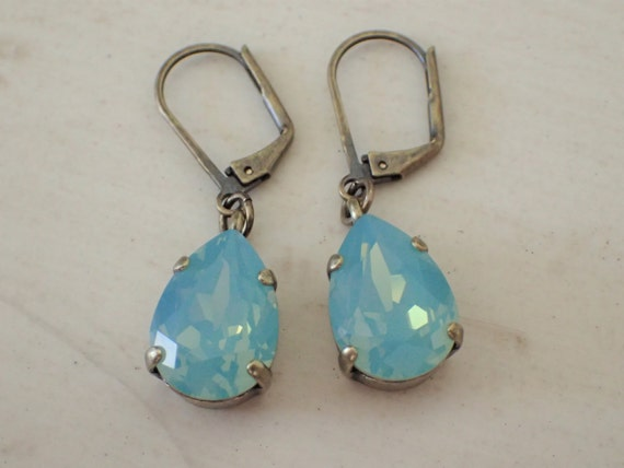Pacific Opal Pear Crystal Leverback Earrings, Antique Brass