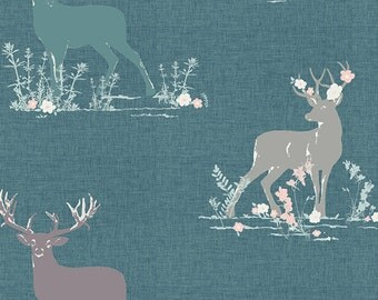 1 Yard Blithe by Katrina Roccella for Art Gallery Fabrics- 75602 Dear Deer Teal