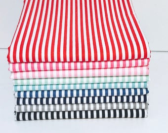 "1/2 Yard Bundle Riley Blake Basic Stripes 1/8"" - 9 Fabrics"
