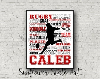 Personalized Rugby Poster, Rugby Typography, Rugby Player, Rugby Player Print, Rugby Player Gift, Rugby Art, Rugby Print, Rugby Decor