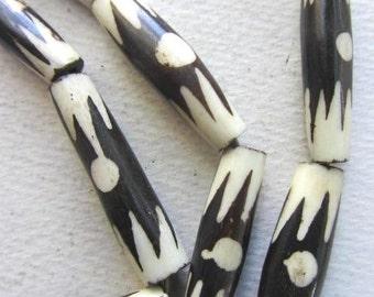 Batik Bone Pipe Beads, Long Tublar Beads, African Tribal Design, Ethnic Beads (8x28mm) [56721]